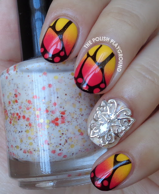 Yellow and Red Gradient Butterfly Wings Stamping Nail Art