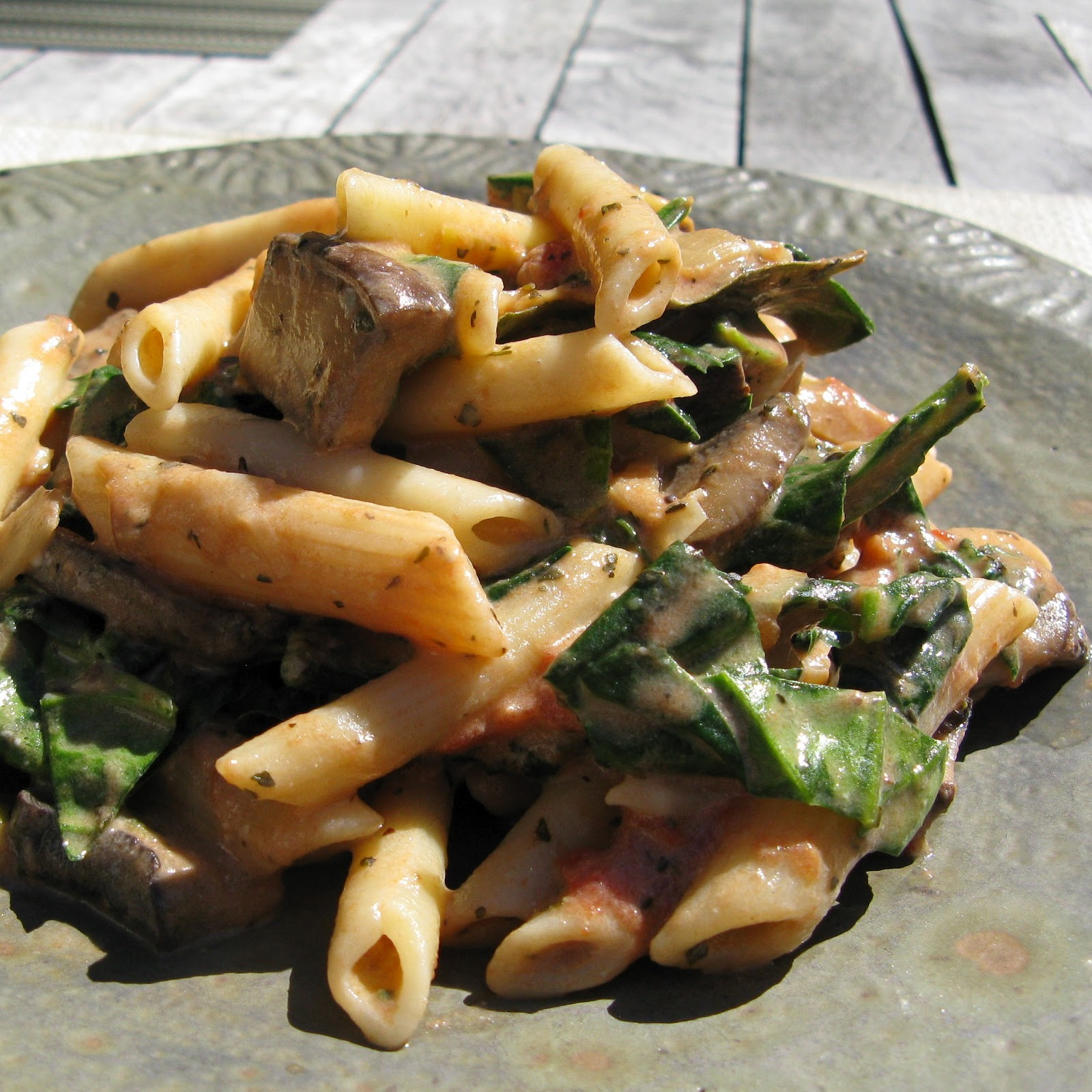 dorian allyn in the kitchen: Portobello and Spinach Penne with Creamy ...
