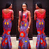 Creative  Ankara Skirt Paired With Lace Top