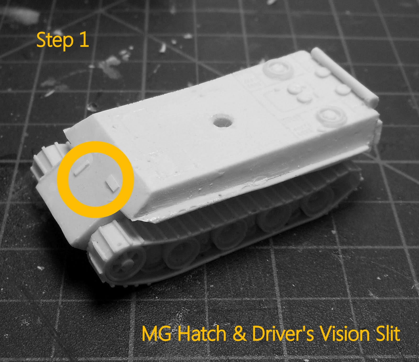 Step 1 Cut a two thin strips of .10 plasticard. One is placed vertically on the right of the glacis plate to represent the MG hatch the other horizontally ... & Empire of Ghosts: June 2012