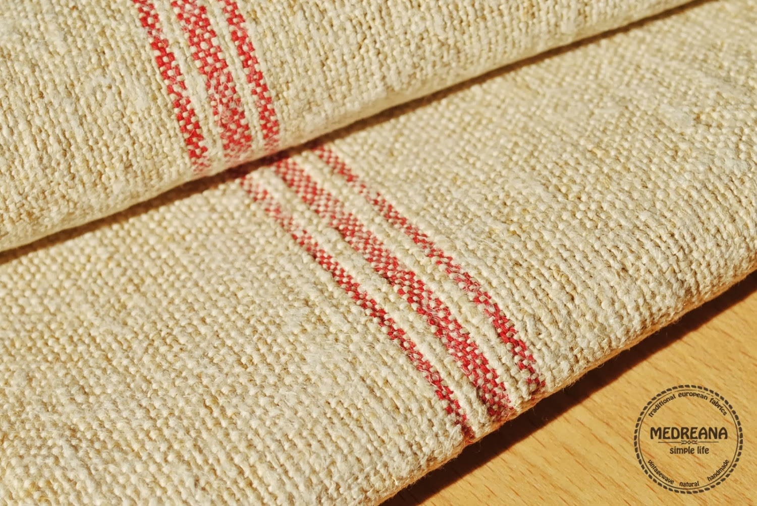 Vintage Hemp Towel / Table Runner   Antique European Kitchen Towel   Tea  Towels Torchon With Red And Black Stripes