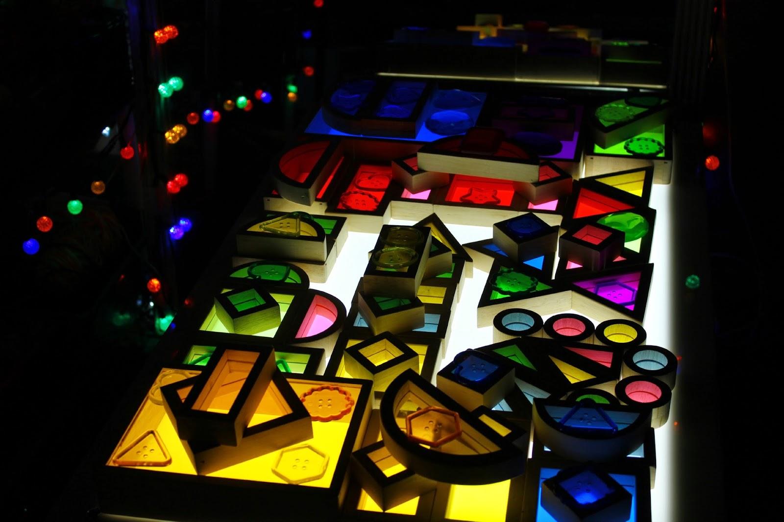 rainbow window blocks on a light table