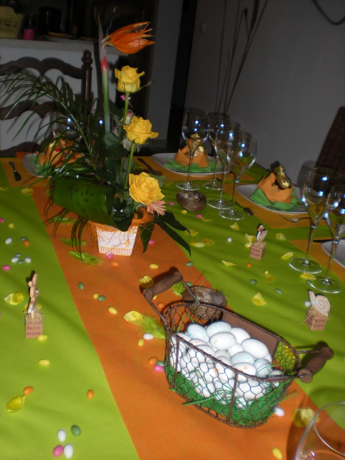 D co de p ques festives d co de table th mes - Chemin de table orange ...