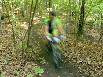 Rider in Tuesday night's HRRT Hot August Nights mountain bike race series, Central Park, Schenectady, August 28, 2012.  The Saratoga Skier and Hiker, first-hand accounts of adventures in the Adirondacks and beyond, and Gore Mountain ski blog.