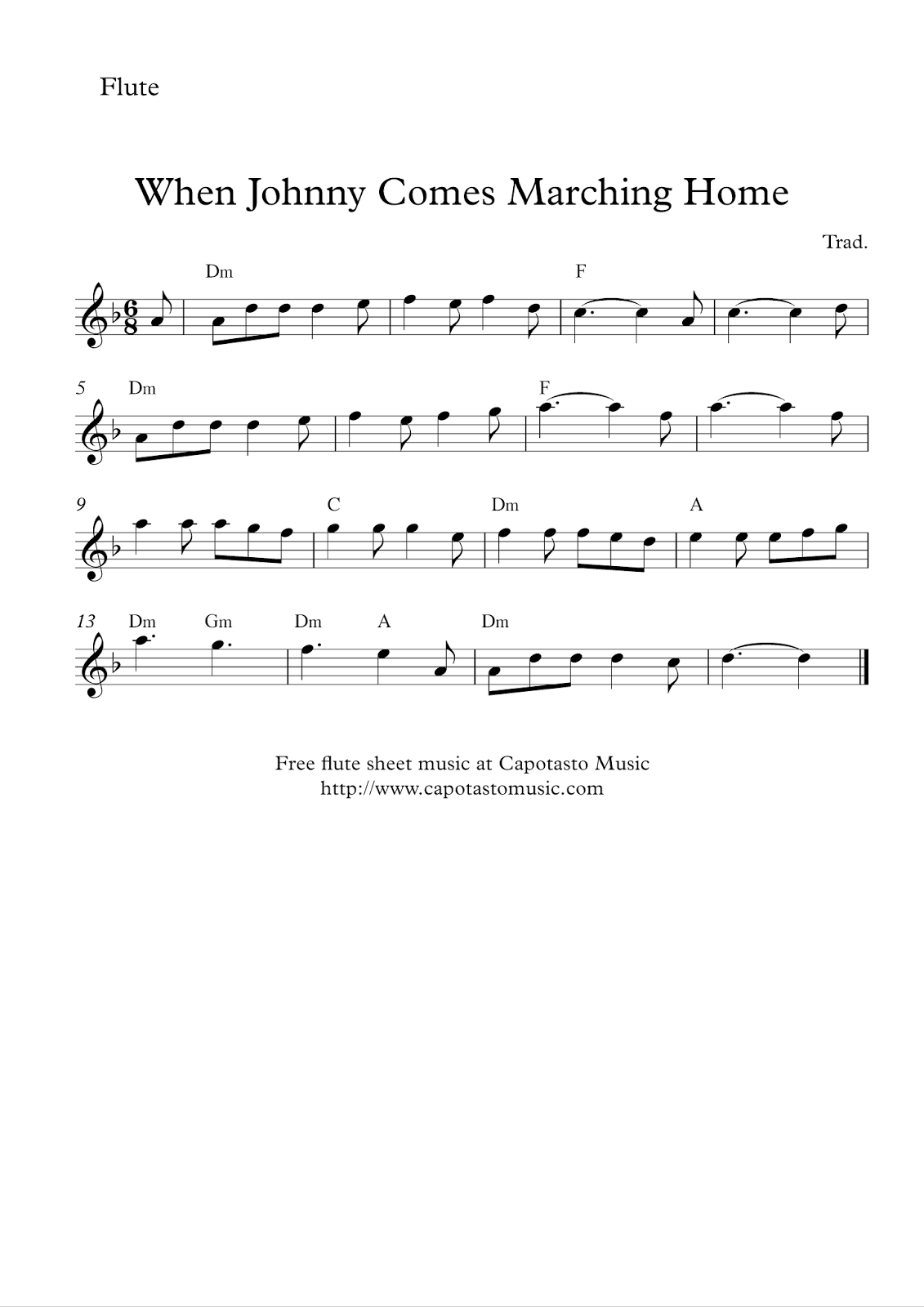Soft image in printable flute sheet music