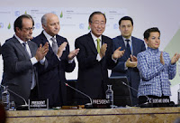 United Nations Secretary General Ban Ki-moon flanked by other leaders at the Paris conference on Saturday. (Credit: Getty Images)  Click to Enlarge.
