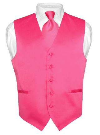 Men 39s hot pink fuchsia dress vest and necktie set for suit or tuxedo
