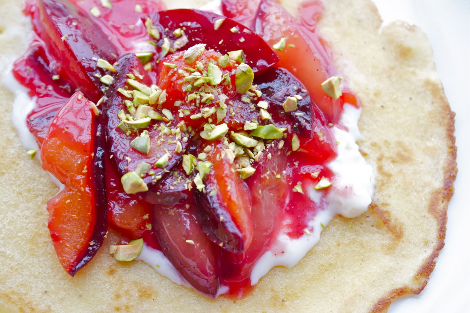 CosmoCookie: Honey Crepes with Black Plums, Mascarpone ...