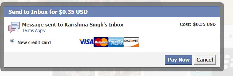 Facebook charging Money for sending message to inbox - Payment Method -how2labs.info