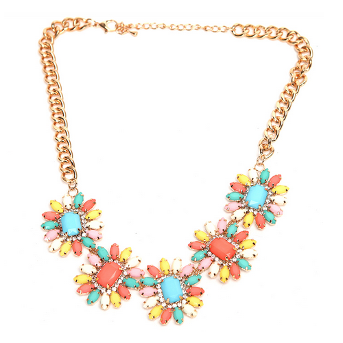 Daisy Flower Rhinestone Bib Necklace