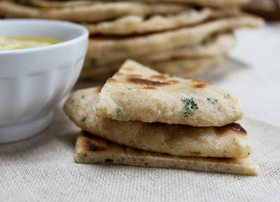 Delectable Musings: Lemon and Parsley Wheat Flatbread: Celebrating