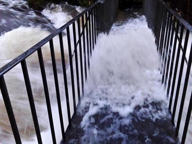 Oughterard waterfall, storm Desmond