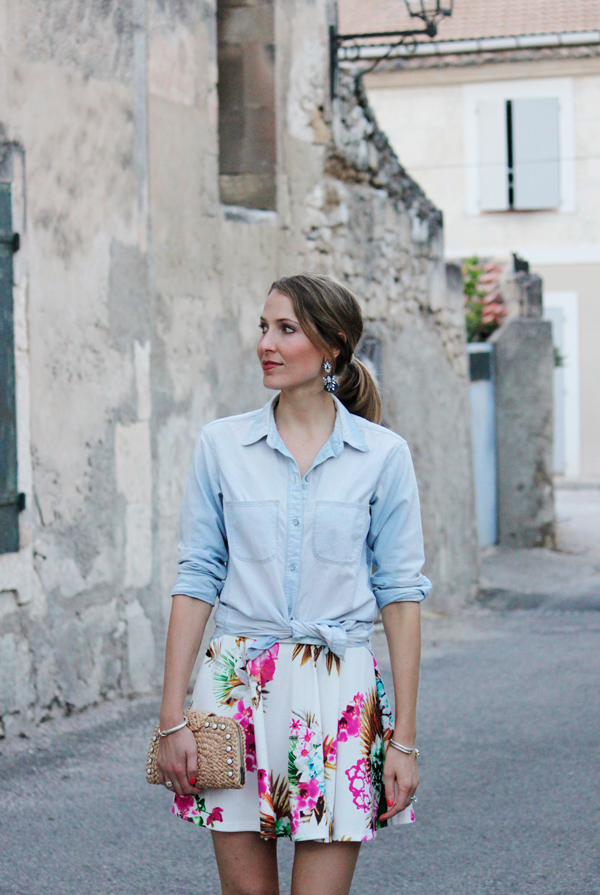 Floral-print skirt & chambray shirt