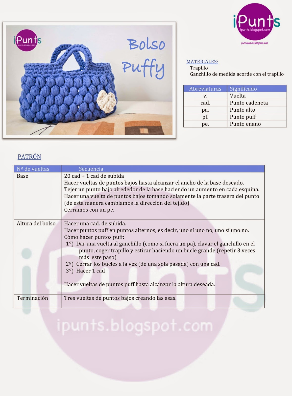 ipunts patrón ganchillo crochet bolso trapillo puff facil aprender
