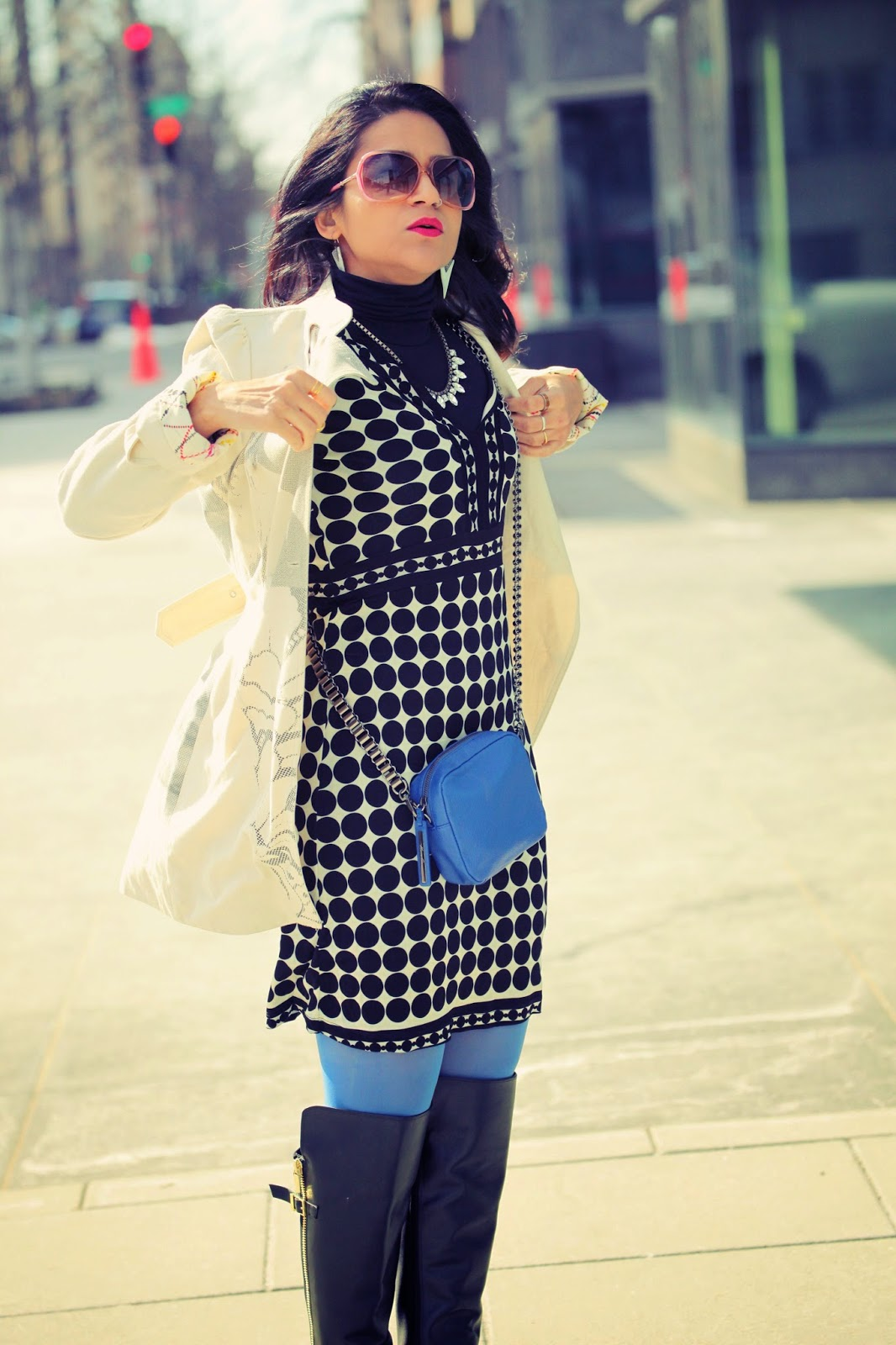 Polka Dot Dress, Knee High Boots, Spring Jacket, Cross body bag, Tanvii.com