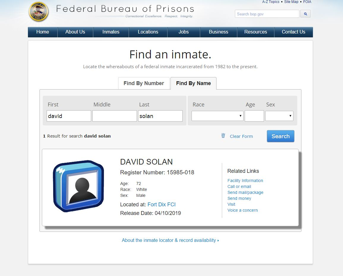Federal Prisons: Search Inmates and Facilities - Inmate ...