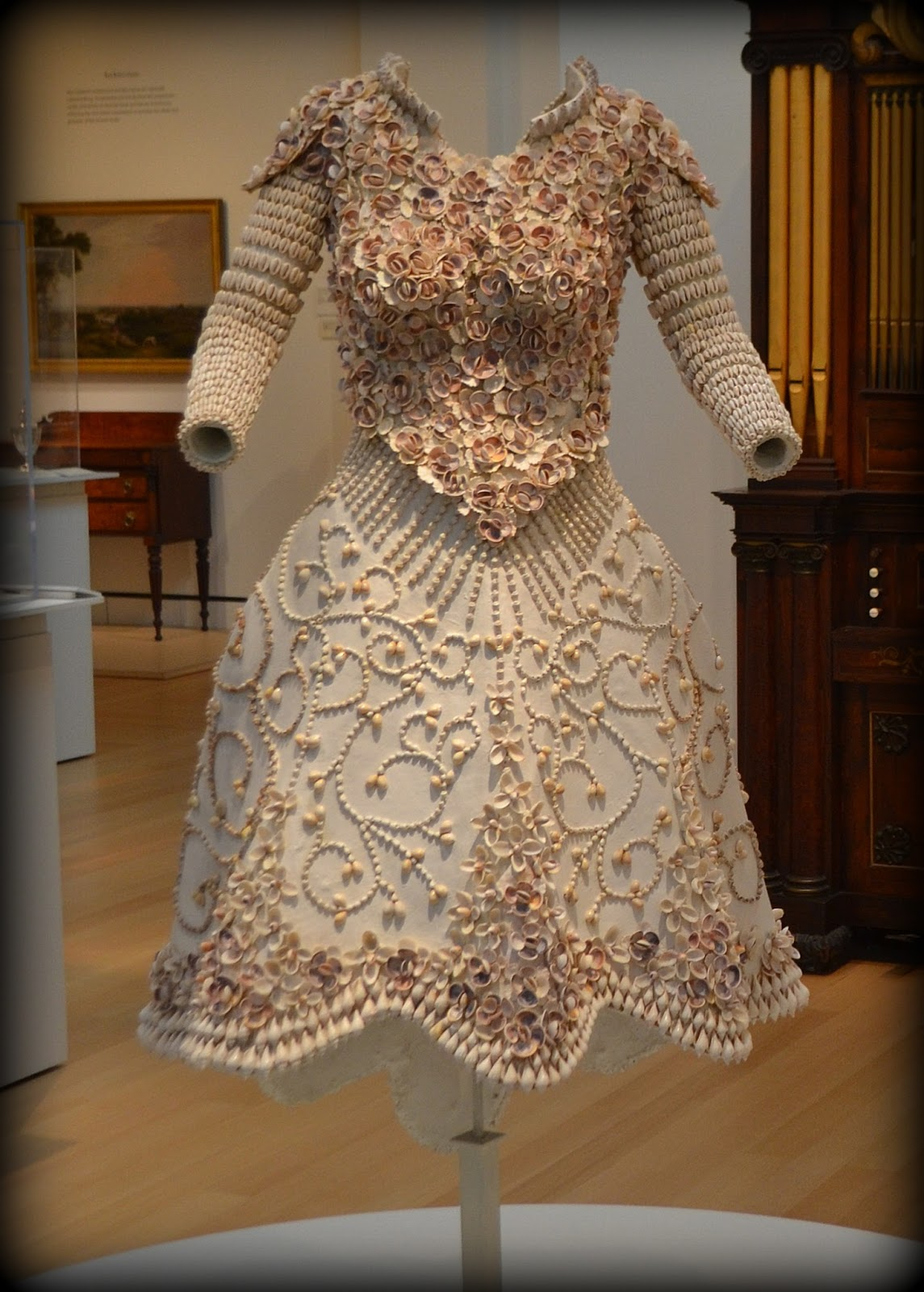 seashell, wedding, dress, peabody essex museum, pem, clothing