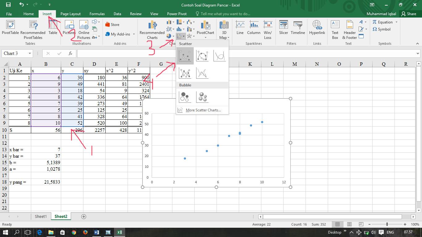Cara membuat garis regresi linear pada diagram pancar scatter 2 kemudian di menu bar design klik quick layout dan pilih layout 9 untuk axis title yg horizontal ganti ke x dan yang axis title yang vertikal ganti ke y ccuart Images
