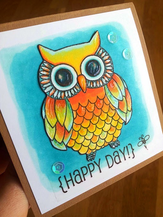 SRM Stickers Blog - Happy Day Owl by Jane - #card #clearstamps #janesdoodles #wiseowl #stickers