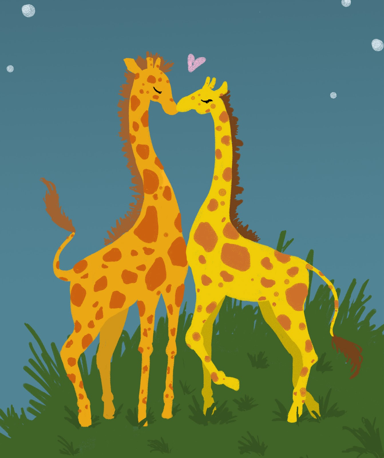 Giraffes In Love Michelle's Art: Giraff...