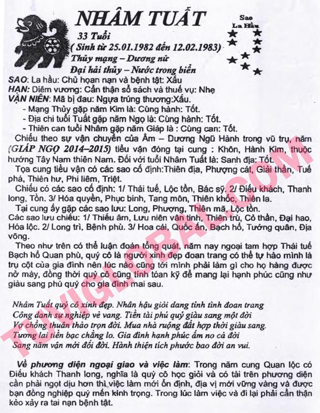 TỬ VI TUỔI NHÂM TUẤT 1982 NĂM 2014 Giáp ngọ - Blog Trần ...