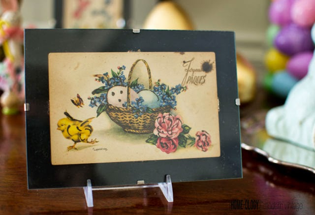 antique easter post card in french