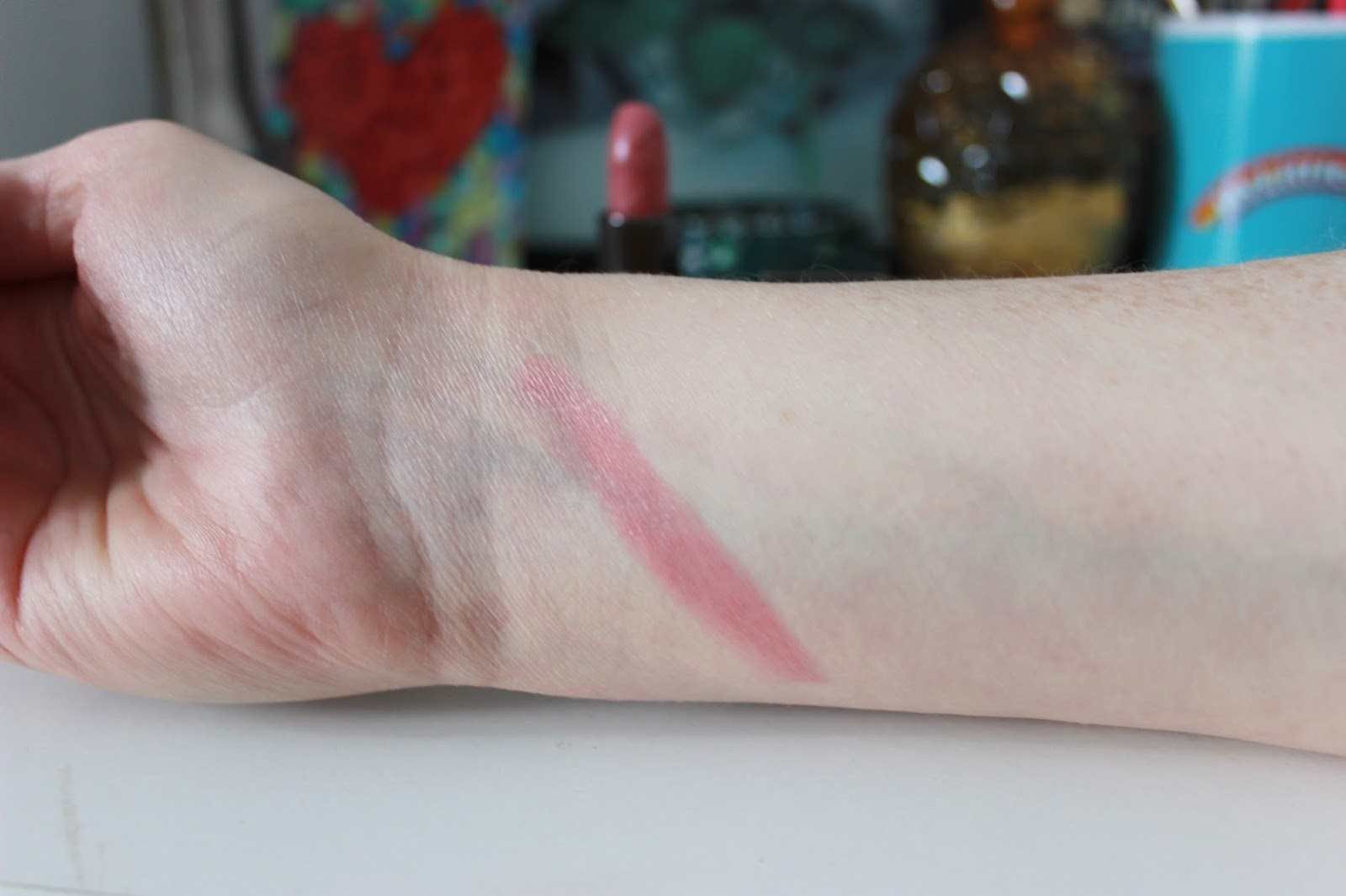 Burberry Kisses lipstick, 033 Rose Pink swatched