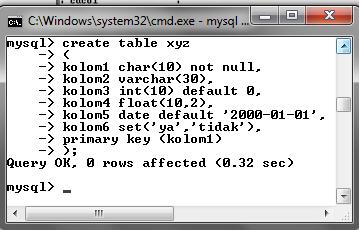 118 MySQL dengan menggunakan Command Prompt (CMD)