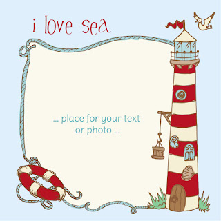 灯台のテキスト フレーム Lighthouse seagulls marine illustration イラスト素材