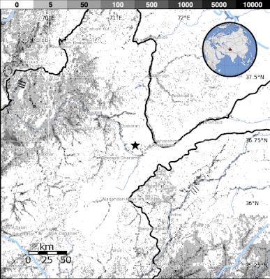 Epicentro sismo 5,7 grados en frontera Afganistan-Pakistán