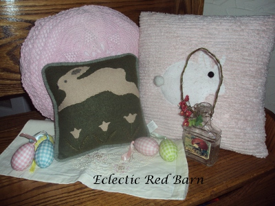 Eclectic Red Barn: Display of bunny pillows for Easter