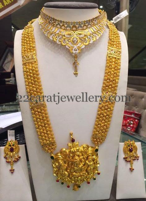 gold antique long haram 110grams jewellery designs