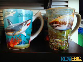 Souvenir coffee mugs featuring sharks from SeaWorld in San Diego, California