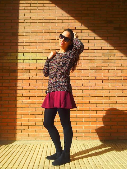 Tendencia total esta nueva temporada otoño invierno las faldas skater de stradivarius y un jersey gazpeado ICHIde