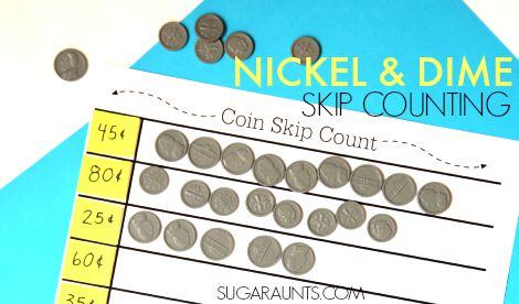 Nickel and Dime money math skip counting to count money.  This is second grade skip counting math activity is a fun way to practice addition and teach money.