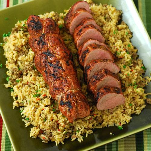 pork tenderloin, Dizzy Pig Dirty Rice, BBQ side dish, Big Green Egg rice,
