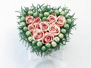 Rosas rosas con forma de corazón