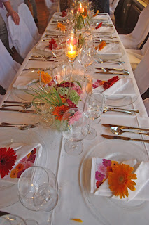 Hochzeit mit Gerbera Tischdekoration