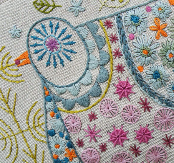 Pigeon Embroidery Cushion Kit Detail