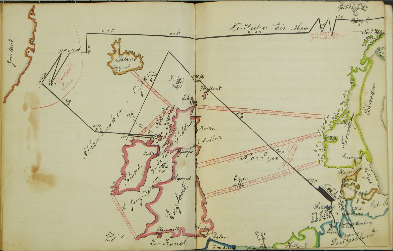 Map drawn by Rudolf Kämmerer in the diary he kept during the First World War