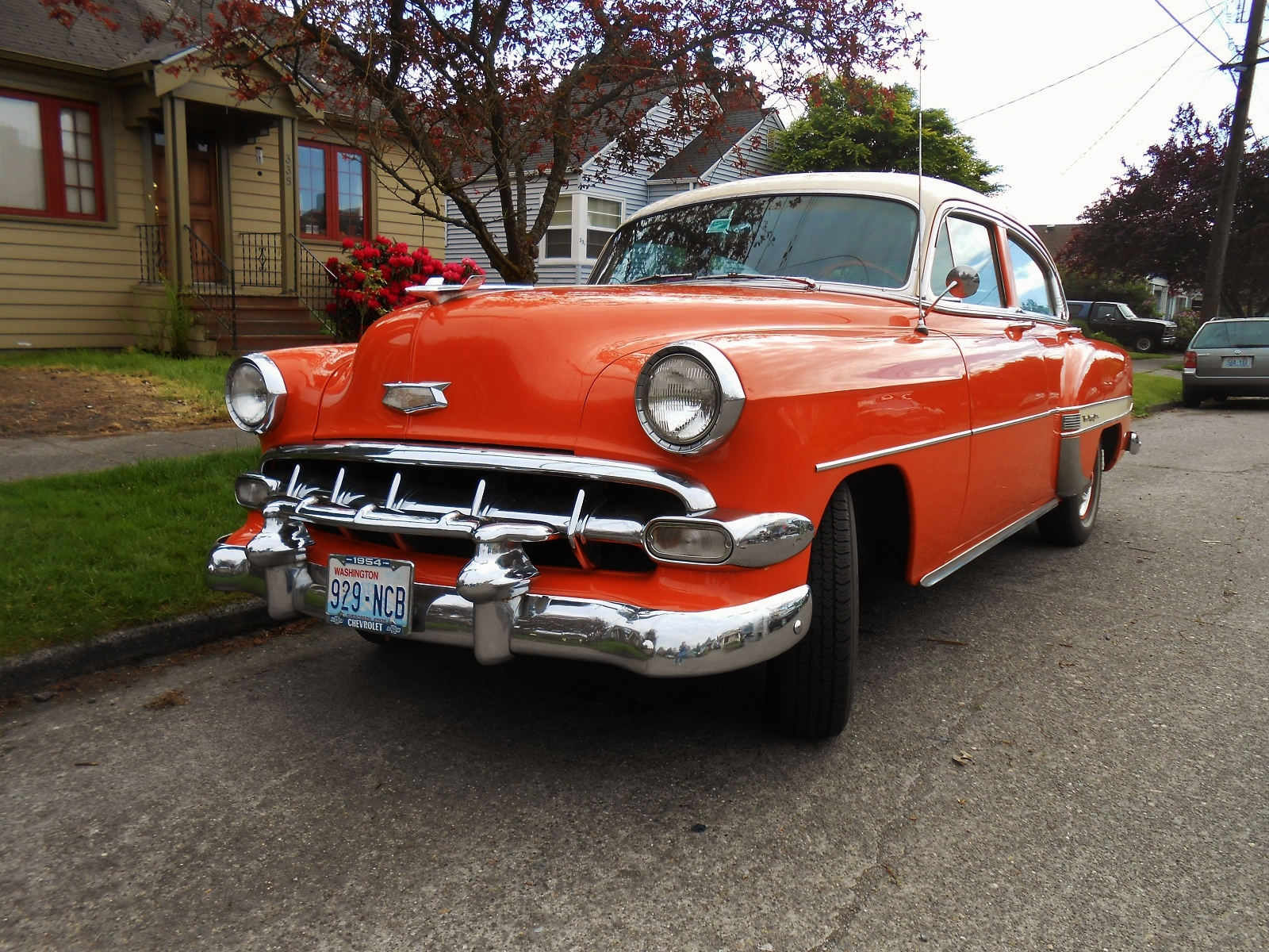Seattles Parked Cars 1954 Chevrolet Bel Air Sedan Unlike Most Restored Airs You See At Shows This One Is A And Painted In An Fantastic Shade Of Orange