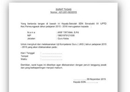 Contoh Surat Tugas Dan Persyaratan Mengikuti Uji