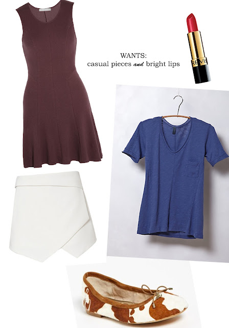 wish list, hammer and heels, Anthropologie, skort, Sam Edelman, Revlon, lipstick, dress, tee, flats, cowprint