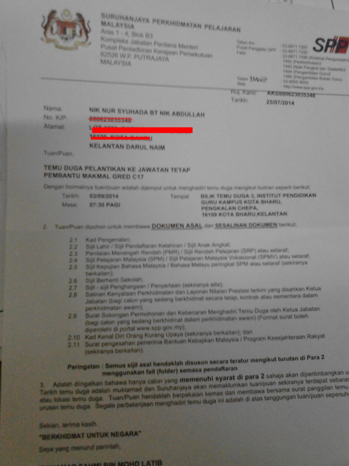 Nikki Ada Abdullah Temuduga Pembantu Makmal Gred C17 Spp