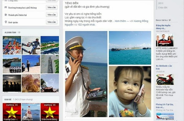 Hình ảnh được minh họa trong bài thơ Tiếng biển được đưa lên Facebook - Ảnh: Lính Biển Việt Nam.