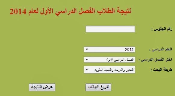 نتيجة الشهادة الابتدائية الفصل الدراسى الاول لعام 2014