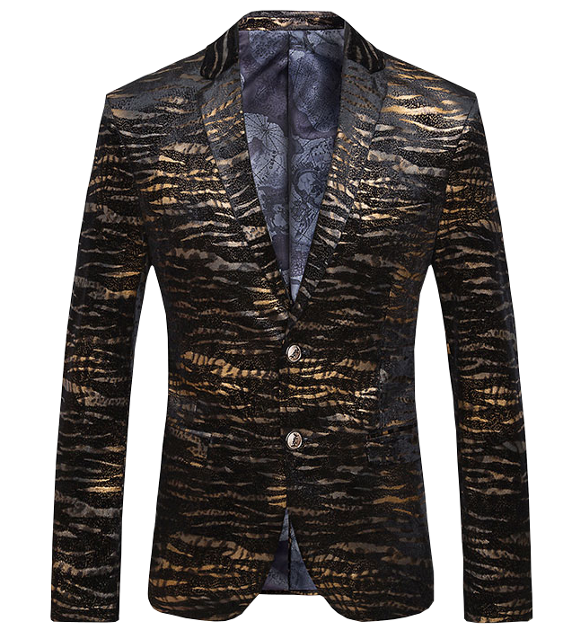 Golden Artistic Animal Velvet Striped Luxury Blazer