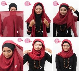 Cara Memakai hijab Bentuk Segitiga