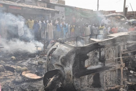 Photos: Scene of today's bomb blast in Maiduguri market7