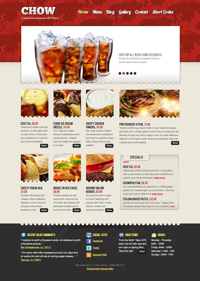 tema profissional para criar blog de restaurante